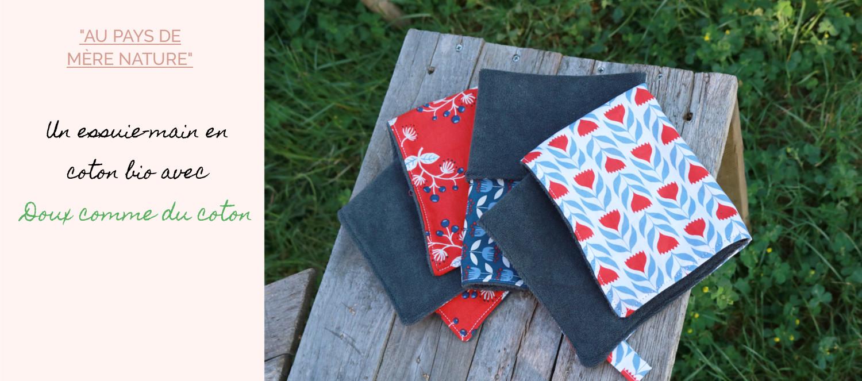 jardiner zéro déchet avec l'essuie-main en coton bio, doux comme du coton dans la box jardinage bio pour la fête des mère de l'échoppe végétale.